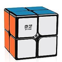 D-FantiX Qiyi Qidi 2x2 Speed Cube, Magic Cube 2x2x2 Puzzle Toys for Kids (Black)
