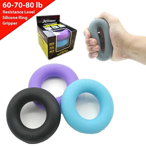 Silicone Non-slip  Hand Gripper Ring Finger Exerciser Strengthener 50LB
