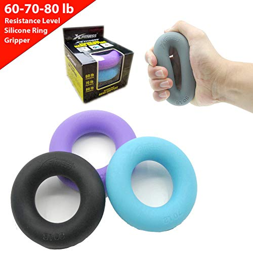 (xFitness Hand Grip A Hand & Forearm Exerciser and Strengthener - Set of 3 Level Resistance - Extension, Crushing & Pinch Grip Training Solution - Best Hand Grips on The Market - 60/70/80 lbs Set)