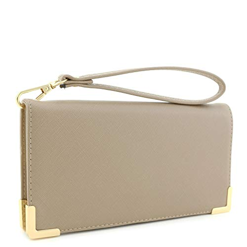 - Women's Saffiano Leather Wallet Wristlet with Gold Hardware Edges (Taupe)