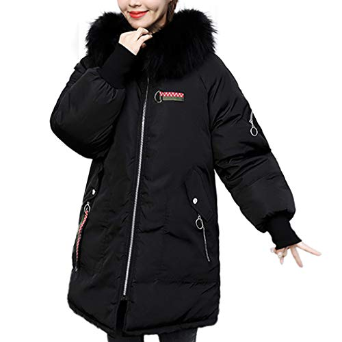 CUCUHAM Women Winter Warm Coat Faux Fur Hooded Thick Warm Slim Jacket Long Overcoat(A2-Black,XX-Large) ()