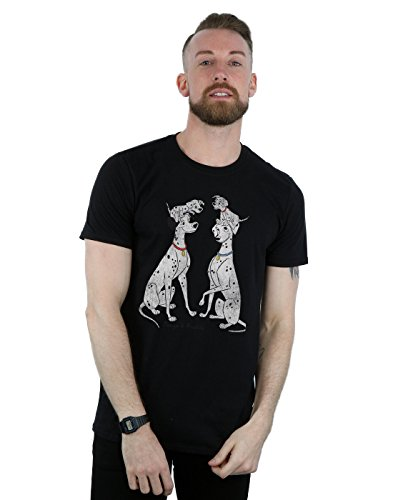 Disney Men's 101 Dalmatians Classic Pongo and Perdita T-Shirt XXX-Large Black