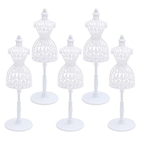 SUPVOX 5 PCS Doll Dress Form Cloth Gown Plastic Demountable Display Support Holder Mannequin Model Stand Accessories for Doll Dresses - 8.3inch