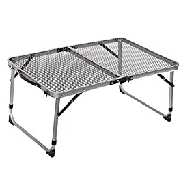 REDCAMP Aluminum Folding Grill Table for Camping, Adjustable Height Lightweight Portable Outdoor Grill Stand Table for…