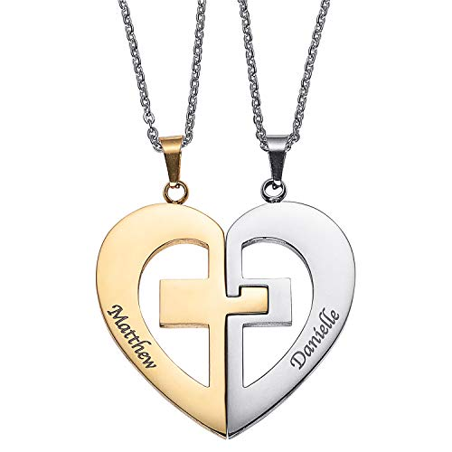 - LONAGO Personalized Couple Name Necklace Matching Set Custom Engraved His and Hers Broken 2 Half Piece Heart Pendant Sterling Silver Two-Tone Puzzle for 2 (Two Tone Cross Necklaces)
