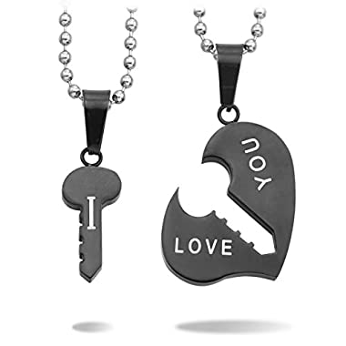 MeMeDIY 2 PCS Black Stainless Steel Pendant Necklace Heart Key Couple ,come with 2 Chains - Customized Engraving