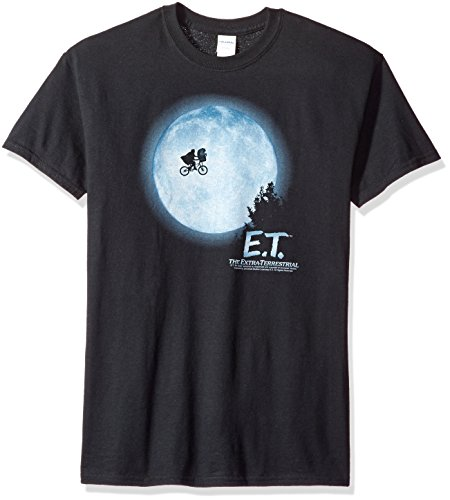 T-shirt Phone (Trevco Men's E.T. The Extra-Terrestrial Short Sleeve T-Shirt, Moon Black, Large)