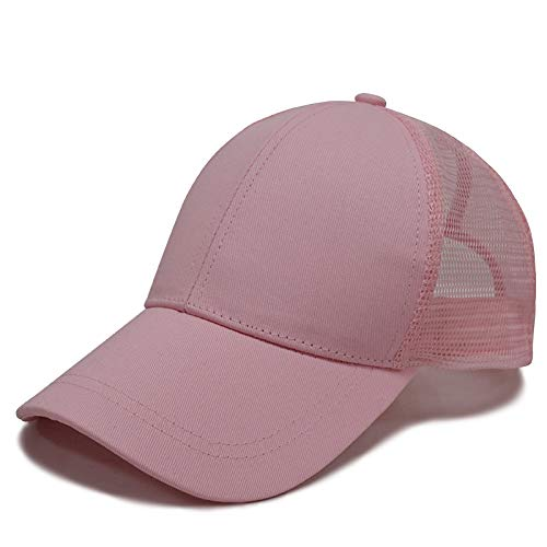 Besti Trucker Hats and Pony Baseball Caps for Women | Form-Fitting, Adjustable Comfort | Sports, Fitness, Athletic Wear | Plain, Color Fabric for DIY Projects (Trucker Pink)