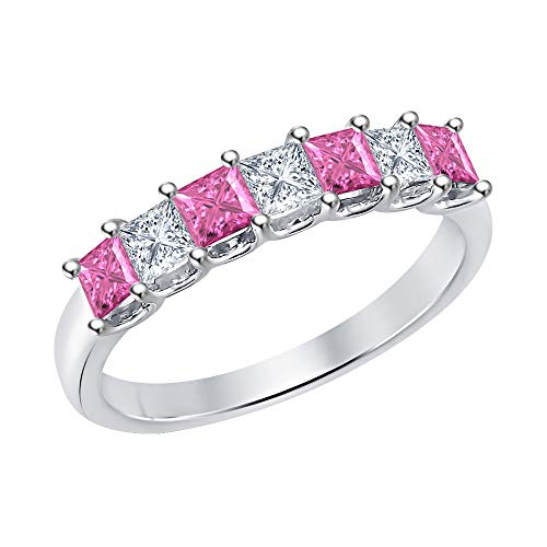 Princess Cut Pink Sapphire & Diamond Half Eternity 14k White Gold .925 Sterling Silver Wedding 7-Stone Band Ring for Women