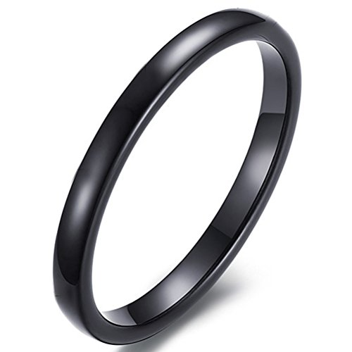Band White Bridal Gold Celtic (Womens 2mm Tungsten Carbide Ring Simple Style Cute Thin Wedding Engagement Promise Band Black Size 8)
