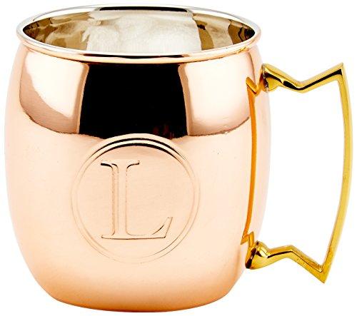 (Old Dutch 16-Oz. Monogrammed Solid Copper Moscow Mule Mug, L)