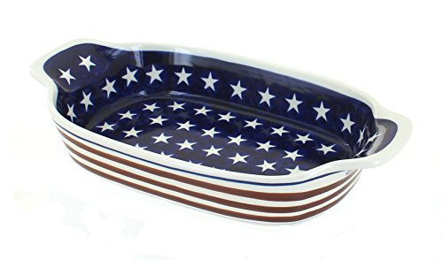Polish Pottery Stars & Stripes Rectangular Serving Dish