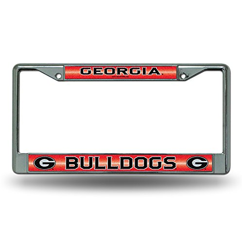 NCAA Georgia Bulldogs Bling Chrome License Plate Frame with Glitter Accent