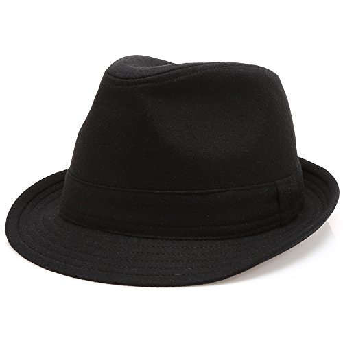(MIRMARU Men's Wool Blend Short Brim Trilby Fedora Hat with Band(Black,SM))