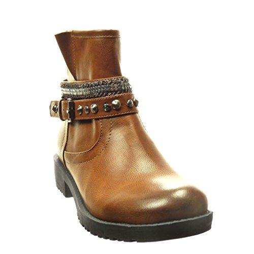 Cm Besetzt Schuhe Angkorly Camel Biker Stiefeletten Schleife Reitstiefel 5 Nieten Kette Damen Kavalier Blockabsatz 3 AOqwaOg