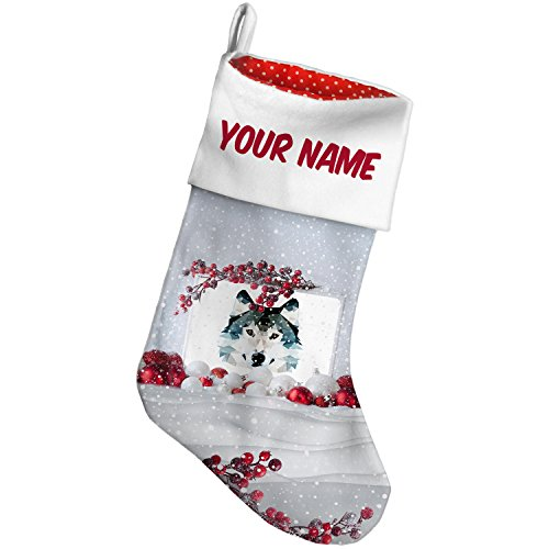 Christmas Stocking Geometric Animal art Wolf Snow Berry NEONBLOND