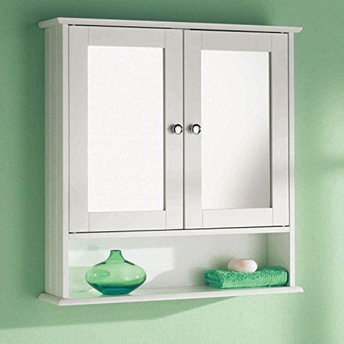 Taylor & Brown Double Door White Bathroom Mirror Cabinet Mirrored Bathroom Cabinet