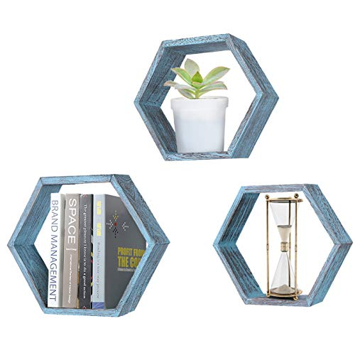 (Comfify Rustic Wall Mounted Hexagonal Floating Shelves - Set of 3 - Large, Medium and Small - Screws and Anchors Included - Farmhouse Shelves for Bedroom, Living Room and More - Honeycomb Wall Décor)
