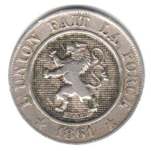 1861 Belgium 10 Centimes Coin KM#22