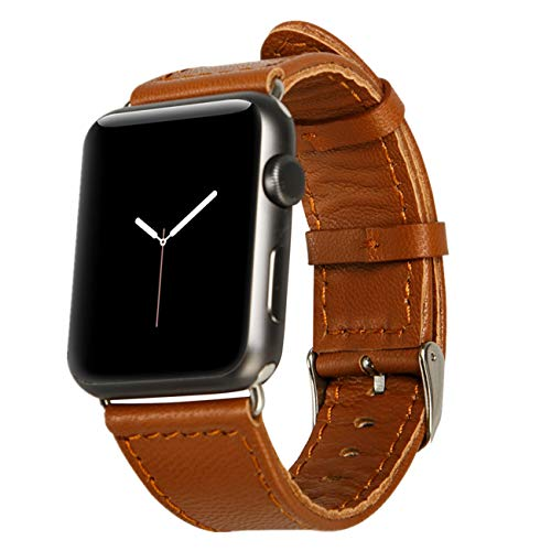 Jisoncase 42MM Apple Watch Band Genuine Lambskin Leather iWatch Replacement Watchbands with Classic Buckle for Apple Watch Sport Edition, Brown (For 42MM Version) TC-AW4-18L20 (Leather Pebbled Buckle Belt)