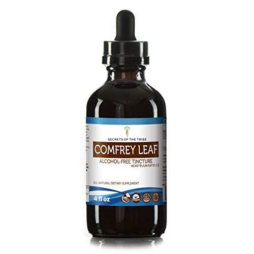 Comfrey Leaf Alcohol-Free Liquid Extract, Organic Comfrey Symphytum Officinale Dried Leaf Tincture Supplement 4 FL OZ
