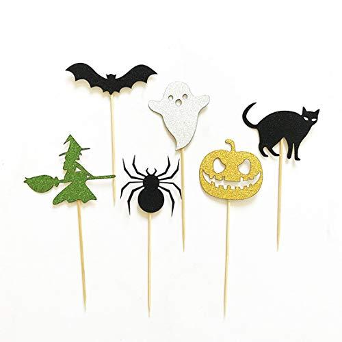 PGIGE Halloween Spider Pumpkin Cat Elf Ghost Cake Toppers Halloween Cupcakes Flags for $<!--$5.59-->