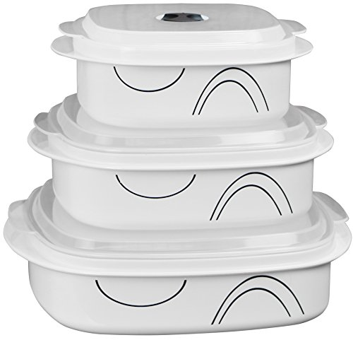 Corelle Coordinates by Reston Lloyd 6-Piece Microwave Cookware, Steamer and Storage Set, Simple Lines]()