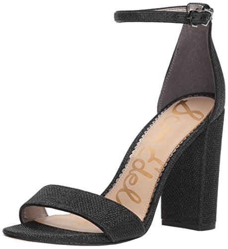 Sam Edelman Women's Yaro Heeled Sandal, Black Glam mesh, 9.5 W US