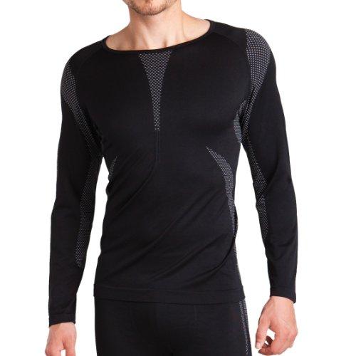 Sport Funktionswäsche Herren Langarm Hemd Seamless von celodoro schwarz/grau Größe: L / XL