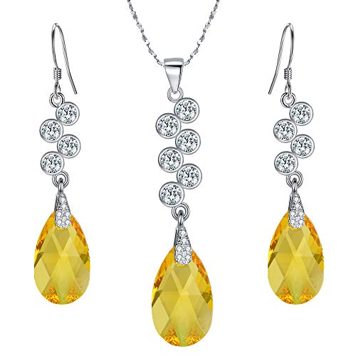 EleQueen 925 Sterling Silver CZ Teardrop Pendant Necklace Hook Dangle Earrings Set Yellow Made with Swarovski Crystals