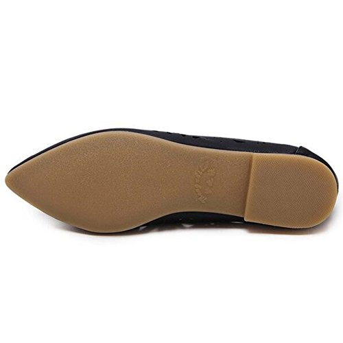 Hattie Women's Casual Hollow Out Flats Pointed Toe Boat Shoes Shallow Loafers Sandals Black tjUOYSM7