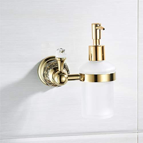 AUSWIND Crystal Liquid Soap Dispenser 150 ml Frosted Glass Bottle Pump Head Wall Mount (Gold)