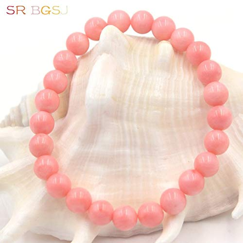 Gabcus 6 8 10mm Mother's Day Gift Natural Pink Coral Gems Stone Stretchy Elegant Round Beads Bracelet 7