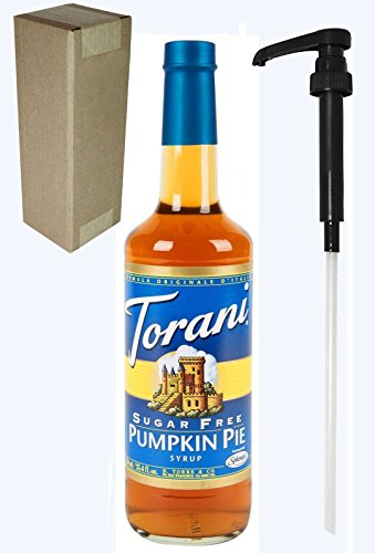 Torani Sugar Free Pumpkin Pie Flavoring Syrup, 750mL (25.4 Fl Oz) Glass Bottle, Individually Boxed, With Black Pump
