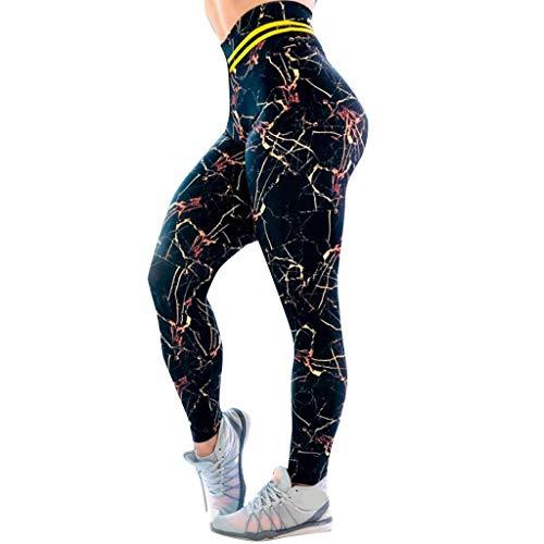(TIMEMEANS Classic Pants Women Casual Marble Digital Printing High Waist Sports Yoga Pants Black )