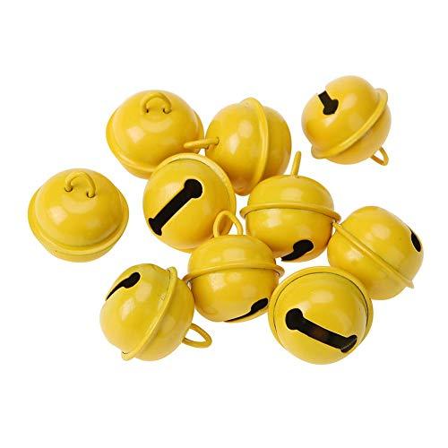 VKTECH 20pcs 1 Inch Christmas Jingle Bells Craft Hanging Ornaments Xmas New Year Decoration Pet Pendants (Yellow) ()