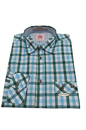 Spieth & Wensky Kariertes Trachtenhemd Neuss blau/grün Gr.39/40