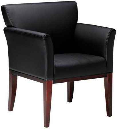 Mayline VSC9 Wood and Leather Guest Chair Golden Cherry Black Leather