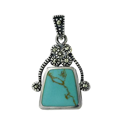 - .925 Sterling Silver Inlaid Faux Turquoise Purse Shape Marcasite Pendant 16