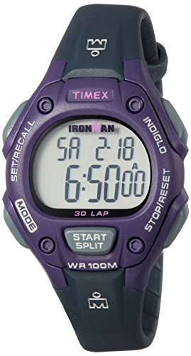 Timex Women's TW5M16000 Ironman Classic 30 Mid-Size Gray/Purple Resin Strap Watch