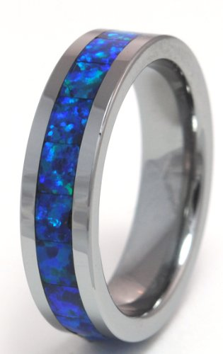 8mm Precious Opal Tungsten Ring with a Brilliant Display Dark Blue Fire (Brilliant Black Fire Opal Ring)