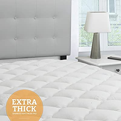 eLuxurySupply Bamboo Extra Thick Mattress Pad with Fitted Skirt - Extra Plush Cooling Topper - Hypoallergenic - Proudly Made in the USA