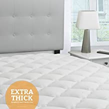 Bamboo Extra Thick Mattress Pad with Fitted Skirt - Extra Plush Cooling Topper - Hypoallergenic - Proudly Made in the USA, King