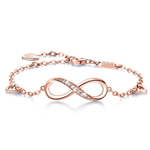 Billie Bijoux Womens 925 Sterling Silver Infinity Endless Love Symbol Charm Adjustable Bracelet Gift for Women Girls (B- Rose Gold) (Chain Eternity Bracelet)
