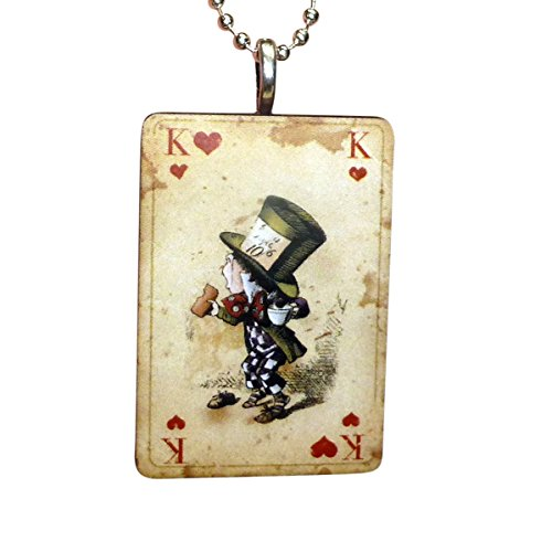 AlicE in WonDERrland NecklACe in Vintage worn look Playing card style comes if FrEE GiFt BoX (Cards In Alice In Wonderland Costumes)