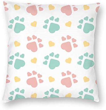 クッションカバー 抱き枕カバー 枕カバー かわいい 部屋 オフィス 可愛い 装飾 ソファ背当て 柔らかい 車用 防臭 雑貨 形状のシームレスなパターンの赤い犬と犬のフットプリント ピローケース