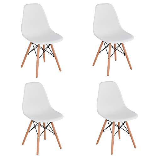 KunstDesign Set de 4 Sillas de Comedor, Diseno Ergonomico,Patas de Madera de Haya Natural (Blanco)