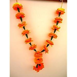 Craffair Artificial Orange Marigold Flower Garlands, Beach Party Garlands, Party Favors, genda Fool mala, puja mala, Honor Garlands, Wedding Garlands 16