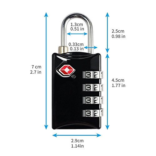 TSA Luggage Locks 2 Pack 4 Digit Combination Steel Approved for Travel Accessories Travel Baggage Suitcases Backpacks by TSA lock (Image #1)