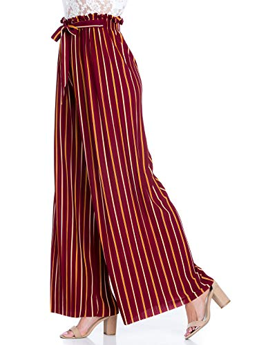 Design by Olivia Women's Ribbon Tie Chiffon Loose Pleated Wide Leg Palazzo Pants Burgundy/Orange ONE